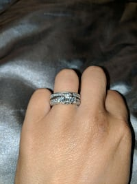 White gold and diamond engagement and wedding ring Los Angeles, 90044