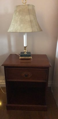 Solid wood table with lamp ( 2 items)  Laval, H7X 3K4