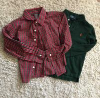 two red and black button-up long-sleeved shirts