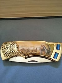 stainless steel native american print pocket knife