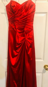 Long ruby red prom dress - XS