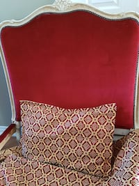 white and red wood-framed padded headboard
