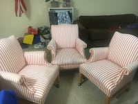 Matching set of striped chairs with metal ball castors Woodbridge, 22191