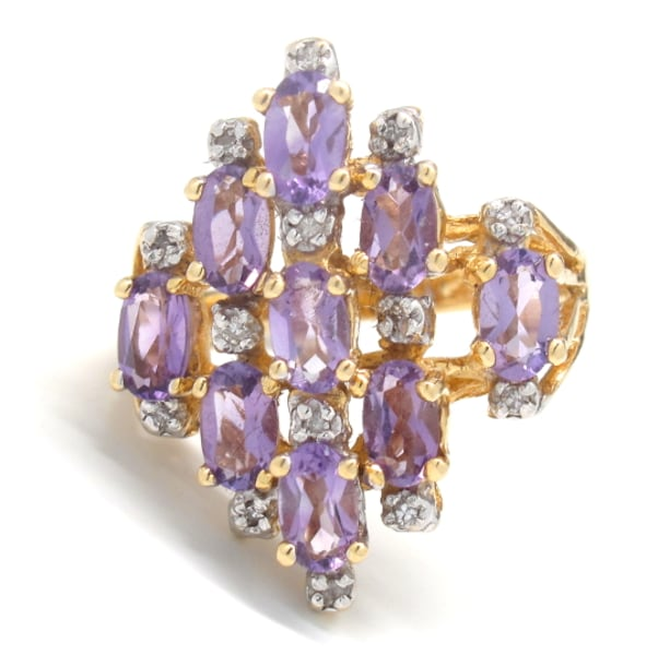 Ladies Diamond/Amethyst Cluster Ring 601564a1-aa15-40f0-9323-3bb0435bf83a
