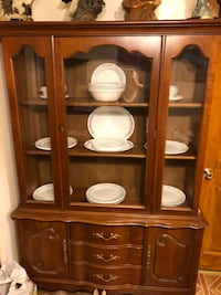 brown wooden framed glass display cabinet Baltimore, 21222