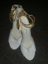 White and gold snake leather heels