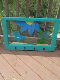blue and green wooden framed mirror London, N5W 4P7