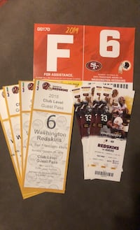 (4) Redskins vs 49ers tickets  10/20 parking, plus club level  passes Stafford, 22554