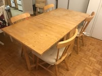 Rectangular brown wooden table with four chairs dining set Montréal, H3H 1M4