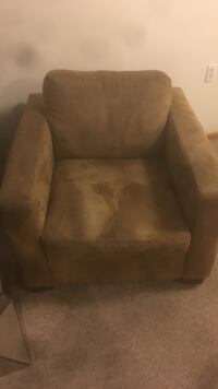 Brown suede sofa chair