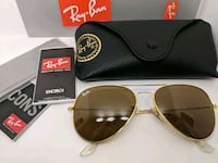 gold framed Ray-Ban aviator sunglasses with case