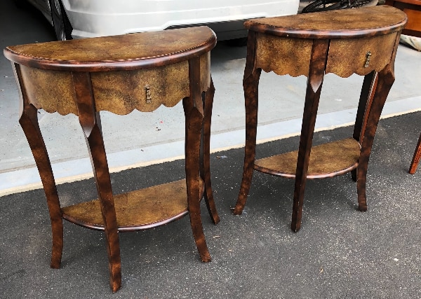Used Set Of Half Moon Accent Tables Bombay Furniture Company For