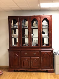 brown wooden china cabinet with cabinet North Windham, 06256