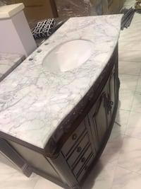 """48"""" Antique Bathroom Vanity Single Sink Cabinet in Mahogany Finish with white Carrara marble top Fairfax"""