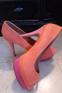Orange and pink suede stilettos