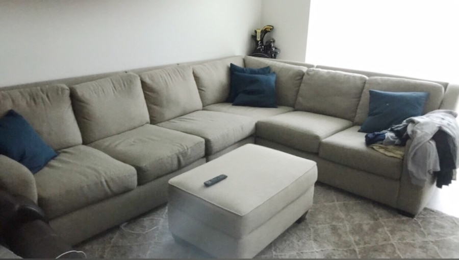 Beige Kevin Charles Sectional Sofa And Ottoman