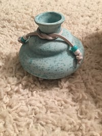 green and white ceramic pitcher Portage