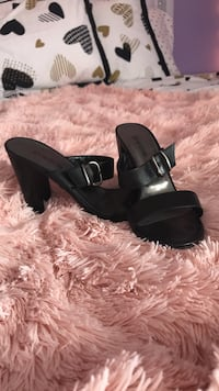 Pair of black open-toe ankle strap wedge sandals 484 mi