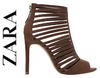 ZARA Brown Multi Strap Heels 38 7.5 Lanham