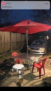 Glass Top Patio Table with Umbrella