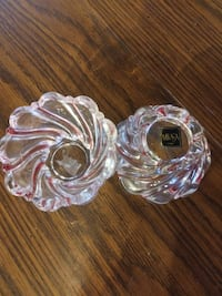 Mikasa Crystal Clear Red Peppermint Swirl Vintage  Dauphin