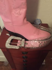 Pink and black leather cowboy boot Jackson, 39211