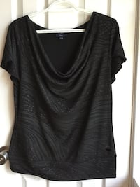 Black scoop neck cap sleeve shirt