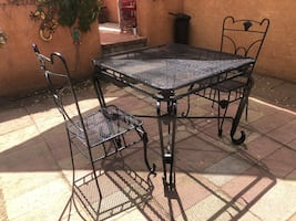 Vintage patio table and 2 chairs firm on price