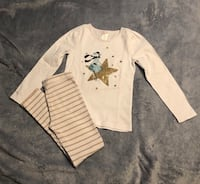 Gymboree 2 pc Outfit.. Top is Size 7 & Leggings Size 8..Pre-Owned in Good Used Condition.. See Photos on elbows has light stains not noticeable unless u look for it..Gold sparkles on shirt..Leggings have gold sparkles on the stripes! Please See All Photos Virginia Beach, 23451