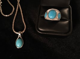 925 turquoise necklace and ring set