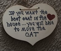 Cat quote print wooden heart decor
