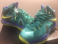Pair of green-black-and-purple nike basketball shoes Akron, 44308