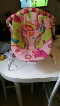 baby's pink and green Fisher-Price bouncer