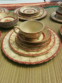 white-and-red floral ceramic dinnerware set