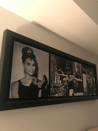 Black wooden framed photo of Audrey Hepburn Vancouver, V6B
