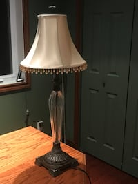 Beautiful candlestick style lamp with embellished shade. Excellent condition  Dorval, H9P 1K6
