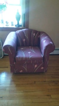 purple leather tufted sofa chair New York, 10034