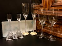 Assorted champagne crystal glasses, electric bottle opener and candle holder with a glass plat Vancouver, V5R 4H1