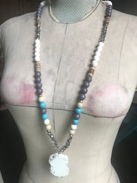 Long Beaded Necklace Large Natural Stone Boiling Springs, 29316
