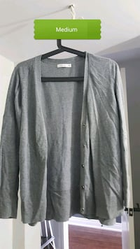 medium gray cardigan with text overlay Barrie, L4N 8N8