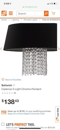 Brand New-Never Used-Beautiful 3Light Chrome Light-Black with Crystals Kannapolis, 28036