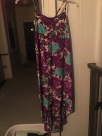 Women's purple and teal floral printed spaghetti strap high low dress