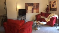 Luxurious Red LoveSeat and chair $400, white chest $75 Columbia, 21044