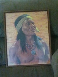 Wooden frame indian picture Roaring River, 28669