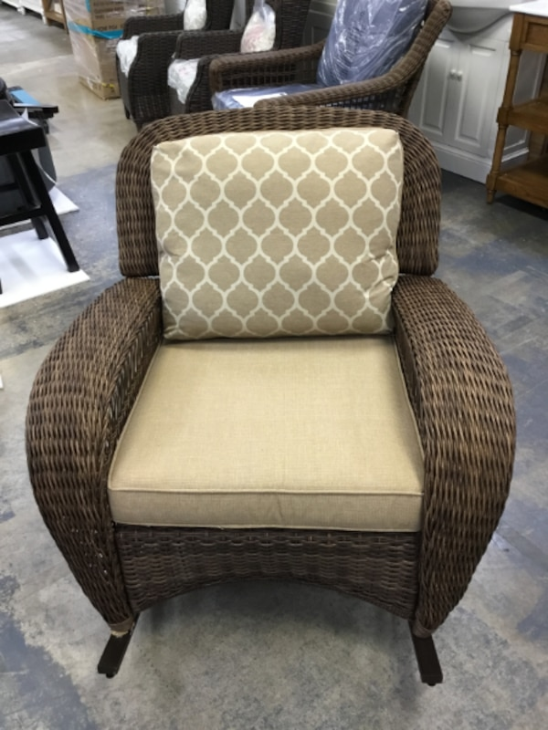 Terrific Hampton Bay Beacon Park Wicker Outdoor Rocking Chair With Toffee Cushions New Caraccident5 Cool Chair Designs And Ideas Caraccident5Info