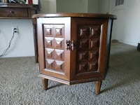 brown wooden table stand with cabinet
