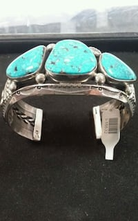 Jeanette Dale Turquoise & Sterling silver cuff bracelet. I-15532