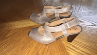 Pair of gray leather ankle strap heeled sandals Monroe, 10950