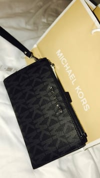 black monogram Michael Kors leather wristlet
