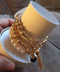 gold and white beaded necklace